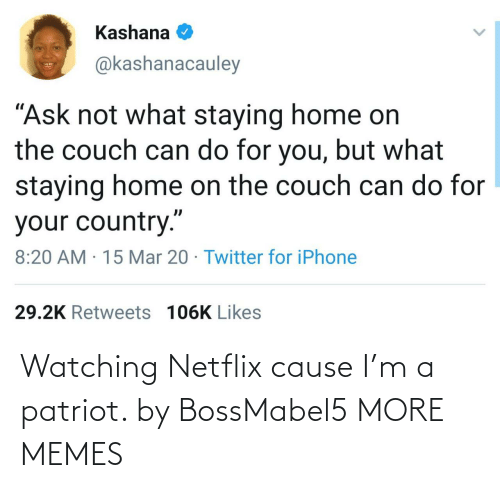 watching: Watching Netflix cause I'm a patriot. by BossMabel5 MORE MEMES