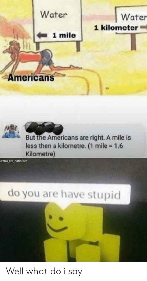 Facepalm, Water, and The Americans: Water  Water  1 kilometer  1 mile  Americans  But the Americans are right. A mile is  less then a kilometre. (1 mile = 1.6  Kilometre)  %3D  w/cnu_cra_notinfaze  do you are have stupid Well what do i say