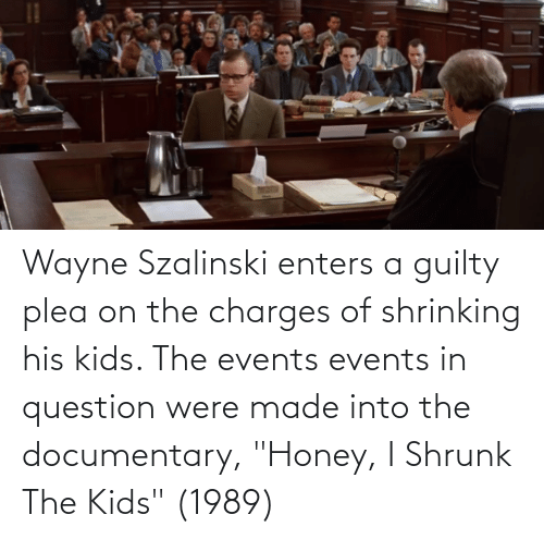 """Honey, I Shrunk the Kids: Wayne Szalinski enters a guilty plea on the charges of shrinking his kids. The events events in question were made into the documentary, """"Honey, I Shrunk The Kids"""" (1989)"""
