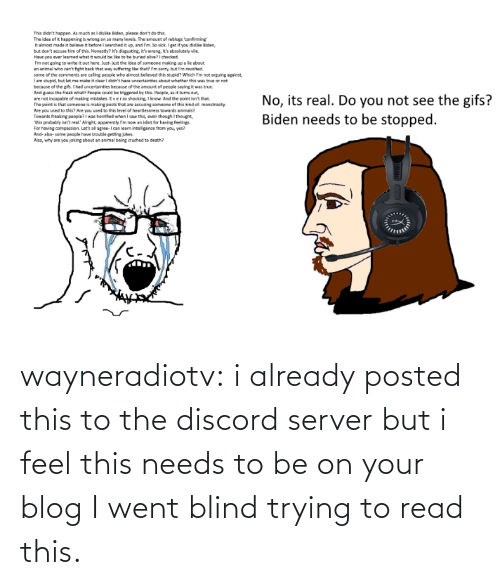 blind: wayneradiotv: i already posted this to the discord server but i feel this needs to be on your blog   I went blind trying to read this.