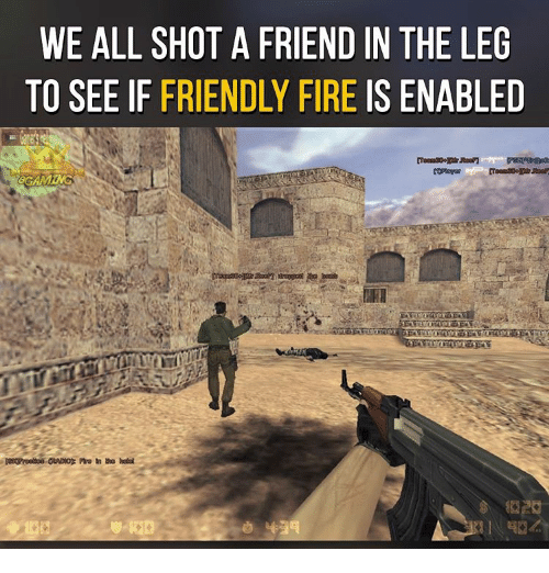 enabler: WE ALL SHOT A FRIEND IN THE LEG  TO SEE IF FRIENDLY FIRE IS ENABLED