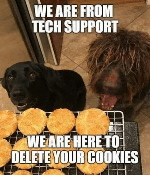 Tech Support: WE ARE FROM  TECH SUPPORT  S2.  WEARE HERE TO  DELETE YOUR COOKIES