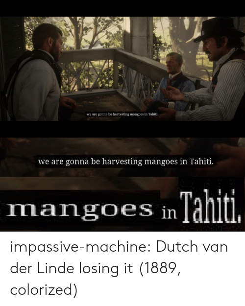 Harvesting: we are gonna be harvesting mangoes in Tahiti   we are gonna be harvesting mangoes in Tahiti.   Tahiti.  mangoes in impassive-machine:  Dutch van der Linde losing it  (1889, colorized)