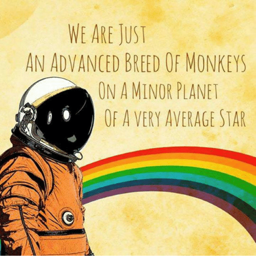 Averagers: WE ARE JUST  AN ADVANCED BREED OF MONKEYS  ON A MINOR PLANET  OF A VERY AVERAGE STAR