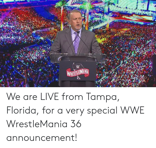 World Wrestling Entertainment, Wrestlemania, and Florida: We are LIVE from Tampa, Florida, for a very special WWE WrestleMania 36 announcement!
