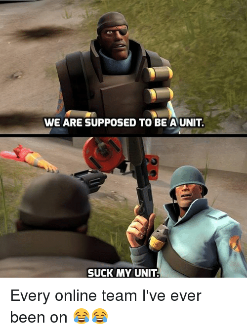 Supposibly: WE ARE SUPPOSED TO BE A UNIT.  SUCK MY UNIT. Every online team I've ever been on 😂😂