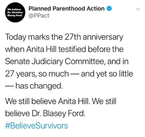 Ford, Parenthood, and Today: We believe  Dr. Christine  Blasey Ford  Planned Parenthood Action  @PPact  Today marks the 27th anniversary  when Anita Hill testified before the  Senate Judiciary Committee, and in  27 years, so much-and yet so little  has changed  We still believe Anita Hill. We still  believe Dr. Blasey Ford
