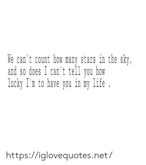 lucky: We can't count how many stars in the sky,  and so does I can't tell you how  lucky I'n to have you in my life https://iglovequotes.net/