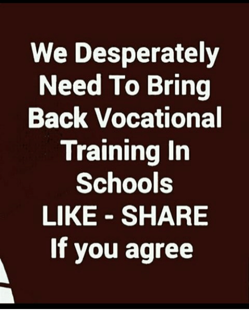 Share If You Agree: We Desperately  Need To Bring  Back Vocational  Training In  Schools  LIKE - SHARE  If you agree