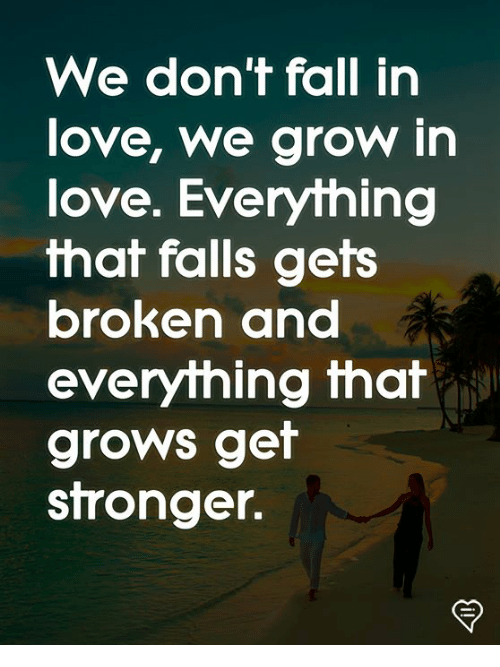 Fall, Love, and Memes: We don't fall in  love, we grow in  love. Everything  that falls gets  broken ana  everything that  grows get  stronger.