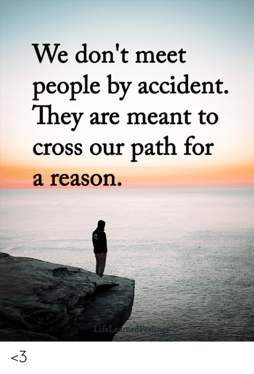 Memes, Cross, and Reason: We don't meet  people by accident.  They are meant to  cross our path for  a reason.  LifeLeatned Foe <3