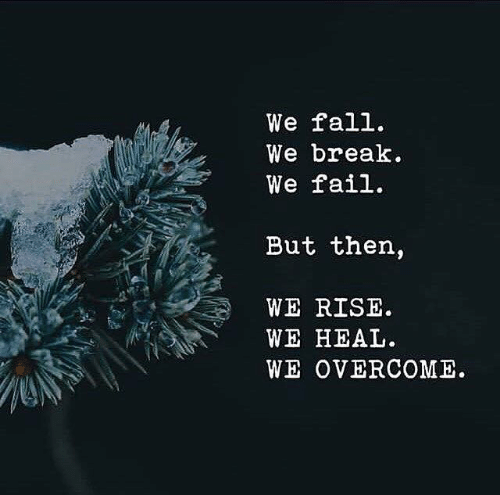 Fail, Fall, and Break: We fall.  We break  We fail.  But then,  WE RISE  WE HEAL  WE OVERCOME