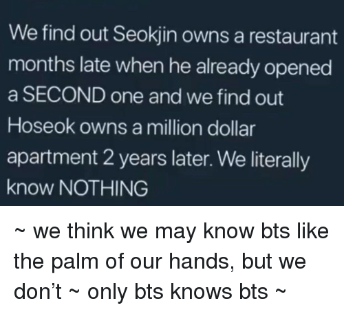 Restaurant, Bts, and One: We find out Seokjin owns a restaurant  months late when he already opened  a SECOND one and we find out  Hoseok owns a million dollar  apartment 2 years later. We literally  know NOTHING ~ we think we may know bts like the palm of our hands, but we don't ~ only bts knows bts ~