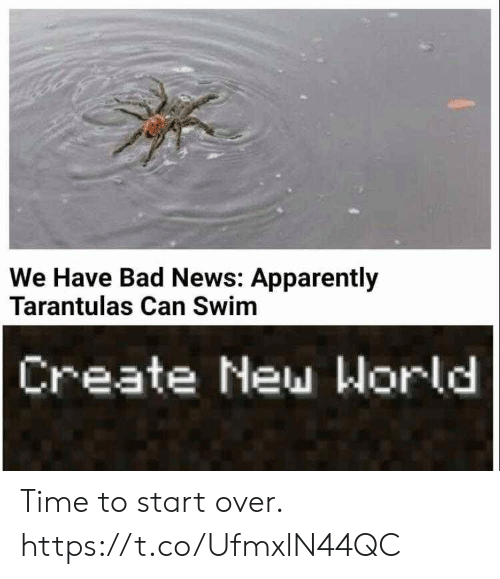 Bad News: We Have Bad News: Apparently  Tarantulas Can Swim  Create New World Time to start over. https://t.co/UfmxlN44QC