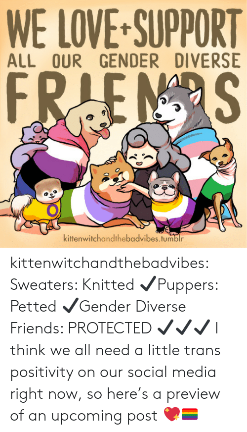 sweaters: WE LOVE-SUPPORT  ALL OUR GENDER DIVERSE  kittenwitchandthebadvibes.tumblr kittenwitchandthebadvibes: Sweaters: Knitted ✔Puppers: Petted ✔Gender Diverse Friends: PROTECTED ✔✔✔  I think we all need a little trans positivity on our social media right now, so here's a preview of an upcoming post 💖🏳️🌈