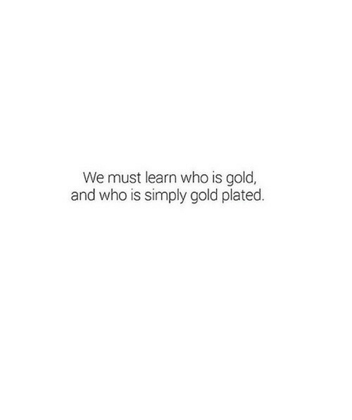 plated: We must learn who is gold,  and who is simply gold plated.