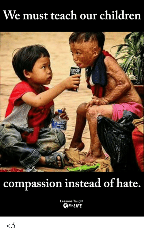 Compassion: We must teach our children  compassion instead of hate.  Lessons Taught  By LIFE <3