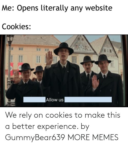 Experience: We rely on cookies to make this a better experience. by GummyBear639 MORE MEMES