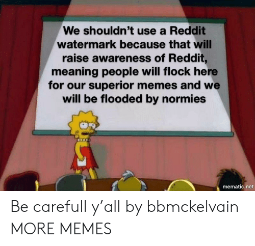 Dank, Memes, and Reddit: We shouldn't use a Reddit  watermark because that will  raise awareness of Reddit,  meaning people will flock here  for our superior memes and we  will be flooded by normies  mematic.net Be carefull y'all by bbmckelvain MORE MEMES