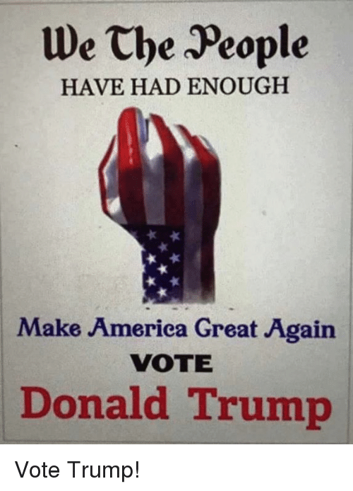 Trump Vote: We the People  HAVE HAD ENOUGH  Make America Great Again  VOTE  Donald Trump Vote Trump!