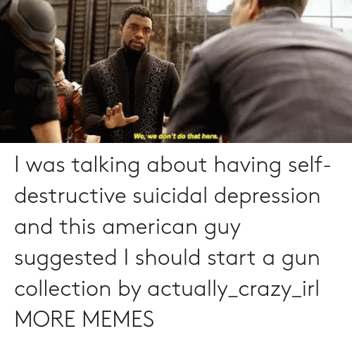 hera: We, we don't do that hera I was talking about having self-destructive suicidal depression and this american guy suggested I should start a gun collection by actually_crazy_irl MORE MEMES