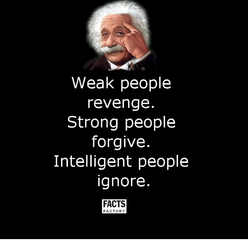 revengeance: Weak people  revenge  Strong people  forgive  Intelligent people  ignore  FACTS  FACTORY