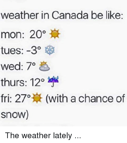 Canadã¡: weather in Canada be like:  mon: 20  tues: -3  wed: 70  thurs: 12o  fri: 27o  (with a chance of  Snow) The weather lately ...