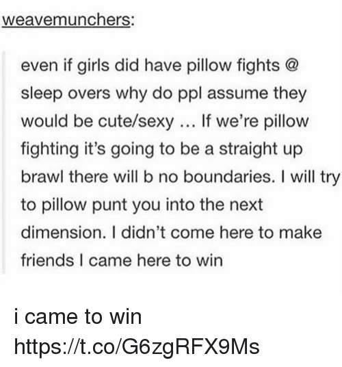 Brawle: weavemunchers:  even if girls did have pillow fights @  sleep overs why do ppl assume they  would be cute/sexy If we're pillow  fighting it's going to be a straight up  brawl there will b no boundaries. I will try  to pillow punt you into the next  dimension. I didn't come here to make  friends I came here to win i came to win https://t.co/G6zgRFX9Ms