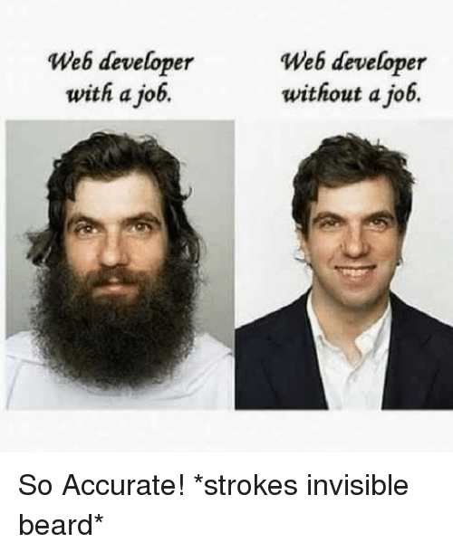 strokes: Web developer  with a job.  Web developer  without a job. So Accurate! *strokes invisible beard*