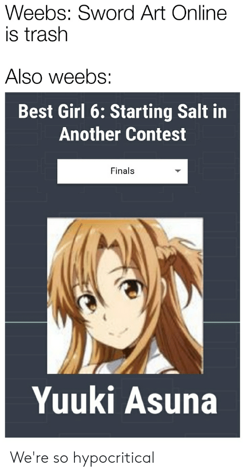 Anime, Finals, and Trash: Weebs: Sword Art Online  is trash  Also weebs:  Best Girl 6: Starting Salt in  Another Contest  Finals  Yuuki Asuna We're so hypocritical