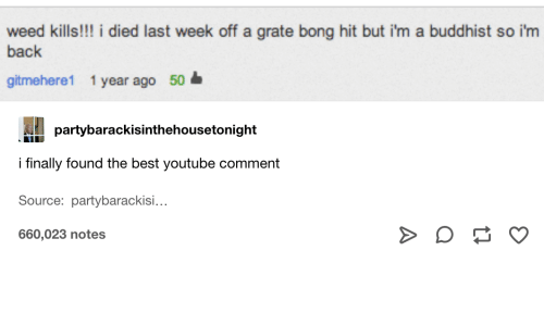 Weed, youtube.com, and Best: weed kills!!! i died last week off a grate bong hit but i'm a buddhist so i'm  back  gitmehere1 1 year ago 50  partybarackisinthehousetonight  i finally found the best youtube comment  Source: partybarackisi...  660,023 notes