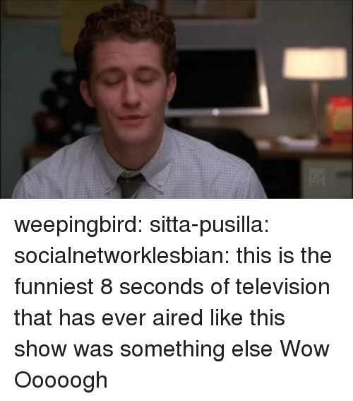 Aired: weepingbird: sitta-pusilla:  socialnetworklesbian: this is the funniest 8 seconds of television that has ever aired like this show was something else  Wow   Ooooogh