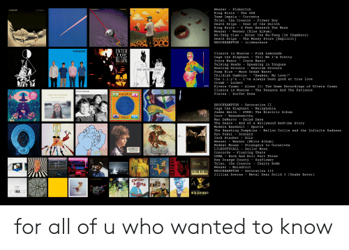 """Being Alone, Baseball, and Childish Gambino: Weezer Pinkerton  King Krule - The ooz  Tame Impala currents  Tyler, the Creator - Flower Boy  Death Grips - Year of the Snitch  King Krule - 6 Feet Beneath The Moon  Weezer - Weezer (Blue Album)  Wu-Tang Clan - Enter the Wu-Tang (36 Chambers)  Death Grips - The Money Store [Explicit]  BROCKHAMPTON - iridescence  weezer  nkerto  ENTER  THE  weezer  Closure in MoscowPink Lemonade  Cage the Elephant - Tell Me I'm Pretty  Joyce Manor -Joyce Manor  Talking Heads - Speaking in Tongues  Nostrum Grocers - Nostrum Grocers  Puma Blue - Moon Undah Water  Childish Gambino  the ї.1.y's - I've always been good at true love  Crumb Locket  IN  THE MONEY STORE  """"Awaken, My Love!  LAN  Rivers Cuomo - Alone II: The Home Recordings of RIvers Cuomo  Closure in Moscow - The Penance And The Patience  Pixies - Surfer Rosa  Jo  CAGE THE ELEPHANT  TELL ME 'M PRETTY  BROCKHAMPTON - Saturation II  Cage the Elephant - Melophobia  Jaden Smith - SYRE: The Electric Album  Cuco - Wannabewithu  Mac DeMarco - Salad Days  The Dears - End of a Hollywood Bedtime Story  Modern Baseball - Sports  The Smashing Pumpkins - Mellon Collie and the Infinite Sadness  Ryo Fukui - Scenery  Jack Stauber - HiLo  WeezerWeezer (White Album)  Modest Mouse - Strangers to Ourselves  LILBOOTYCALL Sailor Moon  Concorde - Floating There  OZMA Rock And Roll Part Three  Rex orange County - Sunflower  Tyler, the Creator - Cherry Bomb  Weezer - Maladroit  BROCKHAMPTONSaturation III  Jillian Aversa - Metal Gear Solid 3 (Snake Eater)  ALONE II  The Home leoardings  10  福居良  HİLo  41  ITII  CUCO  eezer  METAL GEAR SOLID for all of u who wanted to know"""
