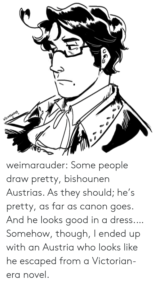 Victorian: Weinagarmen weimarauder:  Some people draw pretty, bishounen Austrias. As they should; he's pretty, as far as canon goes. And he looks good in a dress.…Somehow, though, I ended up with an Austria who looks like he escaped from a Victorian-era novel.