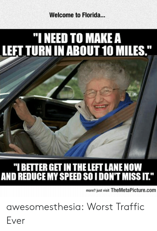 """Traffic, Tumblr, and Blog: Welcome to Florida...  """"I NEED TO MAKE A  LEFT TURN IN ABOUT 10 MILES.""""  """"I BETTER GET IN THE LEFT LANE NOW  AND REDUCE MY SPEED SO IDON'T MISS IT.""""  more? just visit TheMetaPicture.com awesomesthesia:  Worst Traffic Ever"""