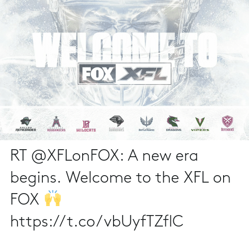 hous: WELCOME TO  FOXXFL  DALLAS  SEATTLE  DRAGONS  HOUS TON  GuinóiänS  TAMPA BAY  DEFENDERS  WILDCATS  RENEGADES  BATTLE HAWKS  VIPERS.  ROUGHNECKS. RT @XFLonFOX: A new era begins.   Welcome to the XFL on FOX 🙌 https://t.co/vbUyfTZflC