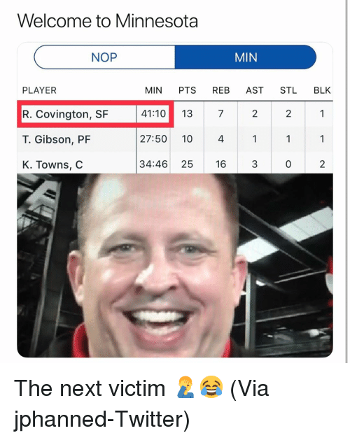Basketball, Nba, and Sports: Welcome to Minnesota  NOP  MIN  PLAYER  R. Covington, SF  T. Gibson, PF  K. Towns, C  MIN PTS REB AST STL BLK  41:10 13 7  27:50 10 4  34:46 25 16 3  2  2  0  2 The next victim 🤦‍♂️😂 (Via ‪jphanned‬-Twitter)