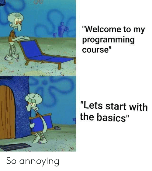 """Basics: """"Welcome to my  programming  course""""  """"Lets start with  the basics"""" So annoying"""