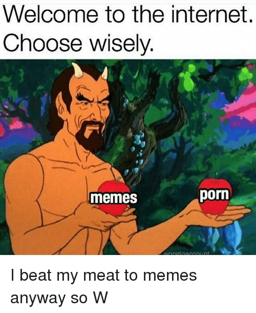 Internet, Memes, and Porn: Welcome to the internet.  Choose wisely  memes  porn I beat my meat to memes anyway so W