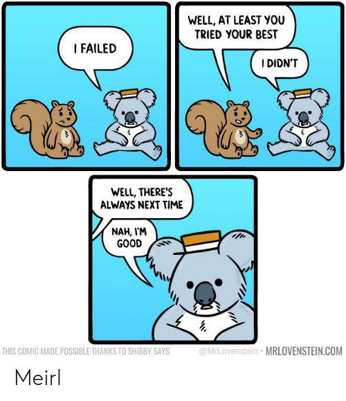 Best, Good, and Time: WELL, AT LEAST YOU  TRIED YOUR BEST  I FAILED  I DIDN'T  WELL, THERE'S  ALWAYS NEXT TIME  NAH, I'M  GOOD  @MrLovenstein MRLOVENSTEIN.COM  THIS COMIC MADE POSSIBLE THANKS TO SHIBBY SAYS Meirl