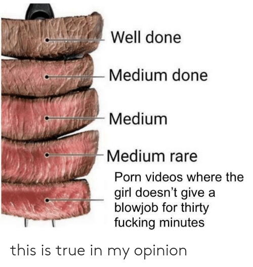 My Opinion: Well done  Medium done  Medium  Medium rare  Porn videos where the  girl doesn't give a  blowjob for thirty  fucking minutes this is true in my opinion