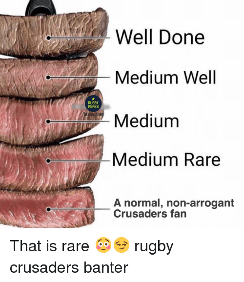 Memes A: Well Done  Medium Well  Medium  Medium Rare  RUGBY  MEMES  A normal, non-arrogant  Crusaders fan That is rare 😳😏 rugby crusaders banter