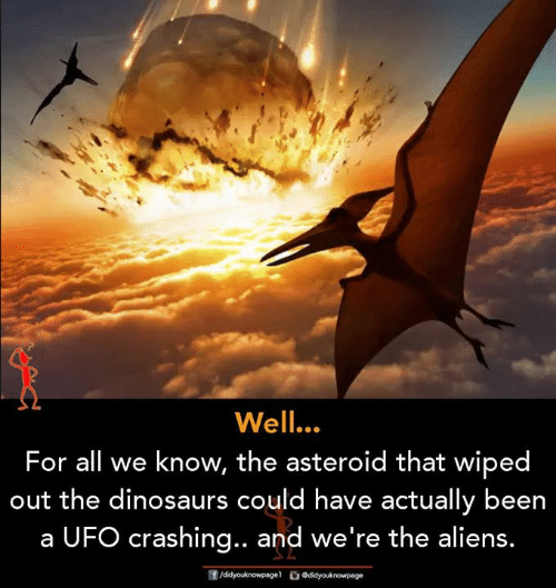 asteroid: Well.  For all we know, the asteroid that wiped  out the dinosaurs could have actually been  a UFO crashing.. and we're the aliens.
