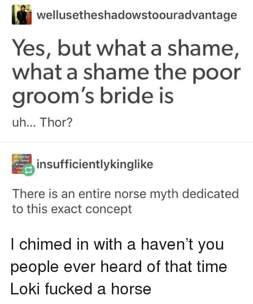 Horse, Thor, and Time: wellusetheshadowstoouradvantage  Yes, but what a shame,  groom's bride is  what a shame the poor  uh... Thor?  insufficientlykinglike  There is an entire norse myth dedicated  to this exact concept I chimed in with a haven't you people ever heard of that time Loki fucked a horse