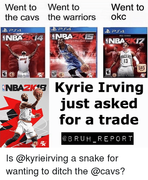 Ditched: Went to Went to  the cavs the warriors  Went to  okc  NBAZKI  13  5#5  35m  NBA F Kyrie Irving  just asked  for a trade  @BRUH REPORT Is @kyrieirving a snake for wanting to ditch the @cavs?