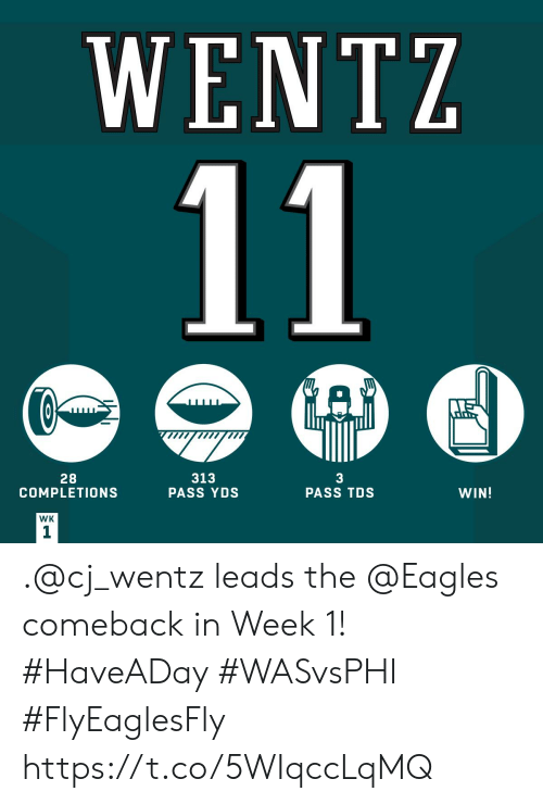 the eagles: WENTZ  11  A  28  COMPLETIONS  313  PASS YDS  3  PASS TDS  WIN!  WK  1 .@cj_wentz leads the @Eagles comeback in Week 1! #HaveADay #WASvsPHI #FlyEaglesFly https://t.co/5WIqccLqMQ