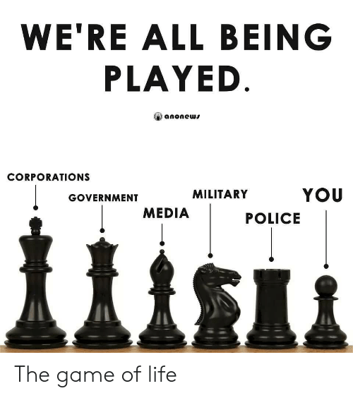 game of: WE'RE ALL BEING  PLAYED  anonews  CORPORATIONS  YOU  MILITARY  GOVERNMENT  MEDIA  POLICE The game of life