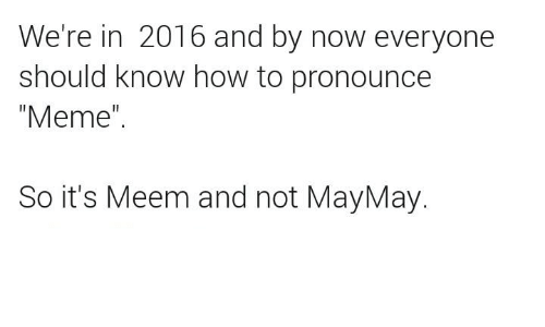 "Pronounce Meme: We're in 2016 and by now everyone  should know how to pronounce  ""Meme""  So it's Meem and not MayMay"