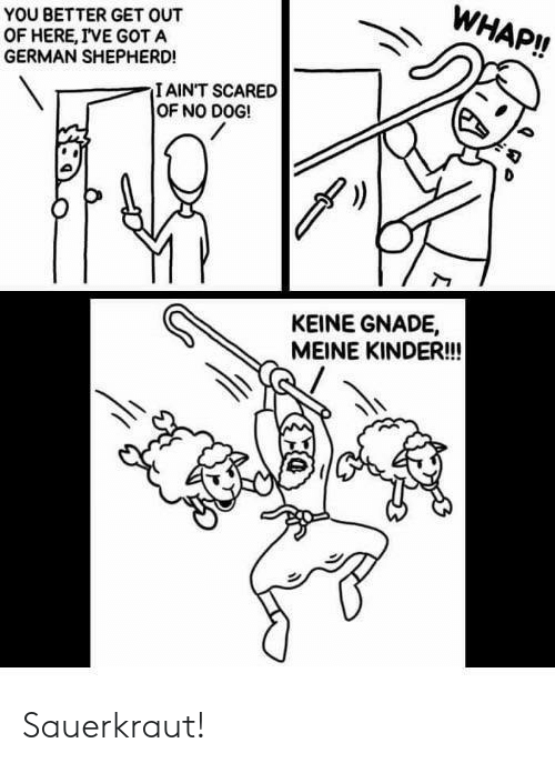 No Dog: WHAP!!  YOU BETTER GET OUT  OF HERE, IVE GOT A  GERMAN SHEPHERD!  IAINT SCARED  OF NO DOG!  KEINE GNADE,  MEINE KINDER!! Sauerkraut!