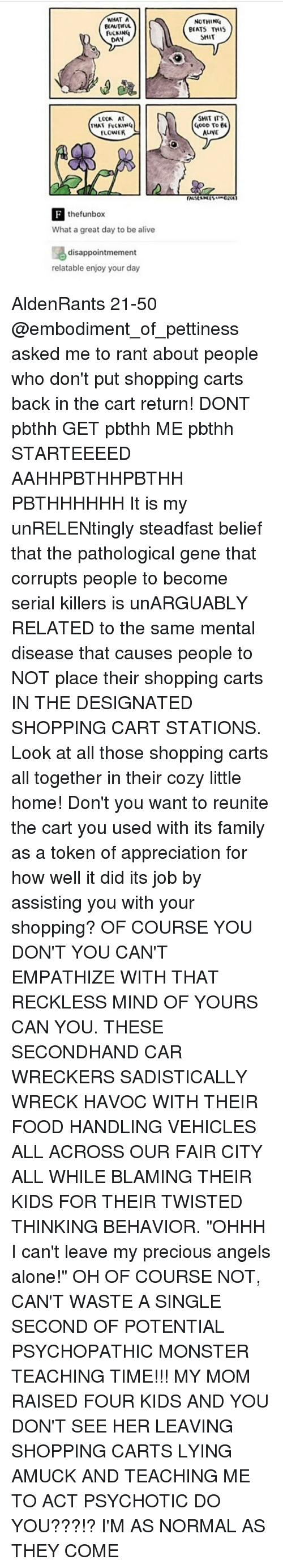 """wrecking: WHAT A  BEAUTIFUL  DAN  THAT FUCKING  FLOWER  the funbox  What a great day to be alive  disappointmement  relatable enjoy your day  NOTHING  BEATS THIS  SHIT  SHIT ITS  OOD To  EE  ALINE AldenRants 21-50 @embodiment_of_pettiness asked me to rant about people who don't put shopping carts back in the cart return! DONT pbthh GET pbthh ME pbthh STARTEEEED AAHHPBTHHPBTHH PBTHHHHHH It is my unRELENtingly steadfast belief that the pathological gene that corrupts people to become serial killers is unARGUABLY RELATED to the same mental disease that causes people to NOT place their shopping carts IN THE DESIGNATED SHOPPING CART STATIONS. Look at all those shopping carts all together in their cozy little home! Don't you want to reunite the cart you used with its family as a token of appreciation for how well it did its job by assisting you with your shopping? OF COURSE YOU DON'T YOU CAN'T EMPATHIZE WITH THAT RECKLESS MIND OF YOURS CAN YOU. THESE SECONDHAND CAR WRECKERS SADISTICALLY WRECK HAVOC WITH THEIR FOOD HANDLING VEHICLES ALL ACROSS OUR FAIR CITY ALL WHILE BLAMING THEIR KIDS FOR THEIR TWISTED THINKING BEHAVIOR. """"OHHH I can't leave my precious angels alone!"""" OH OF COURSE NOT, CAN'T WASTE A SINGLE SECOND OF POTENTIAL PSYCHOPATHIC MONSTER TEACHING TIME!!! MY MOM RAISED FOUR KIDS AND YOU DON'T SEE HER LEAVING SHOPPING CARTS LYING AMUCK AND TEACHING ME TO ACT PSYCHOTIC DO YOU???!? I'M AS NORMAL AS THEY COME"""